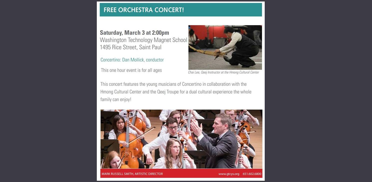 This Saturday, March 3: See the joint concert performance by the Greater Twin Cities Youth Symphony and Hmong Cultural Center's Qeej group