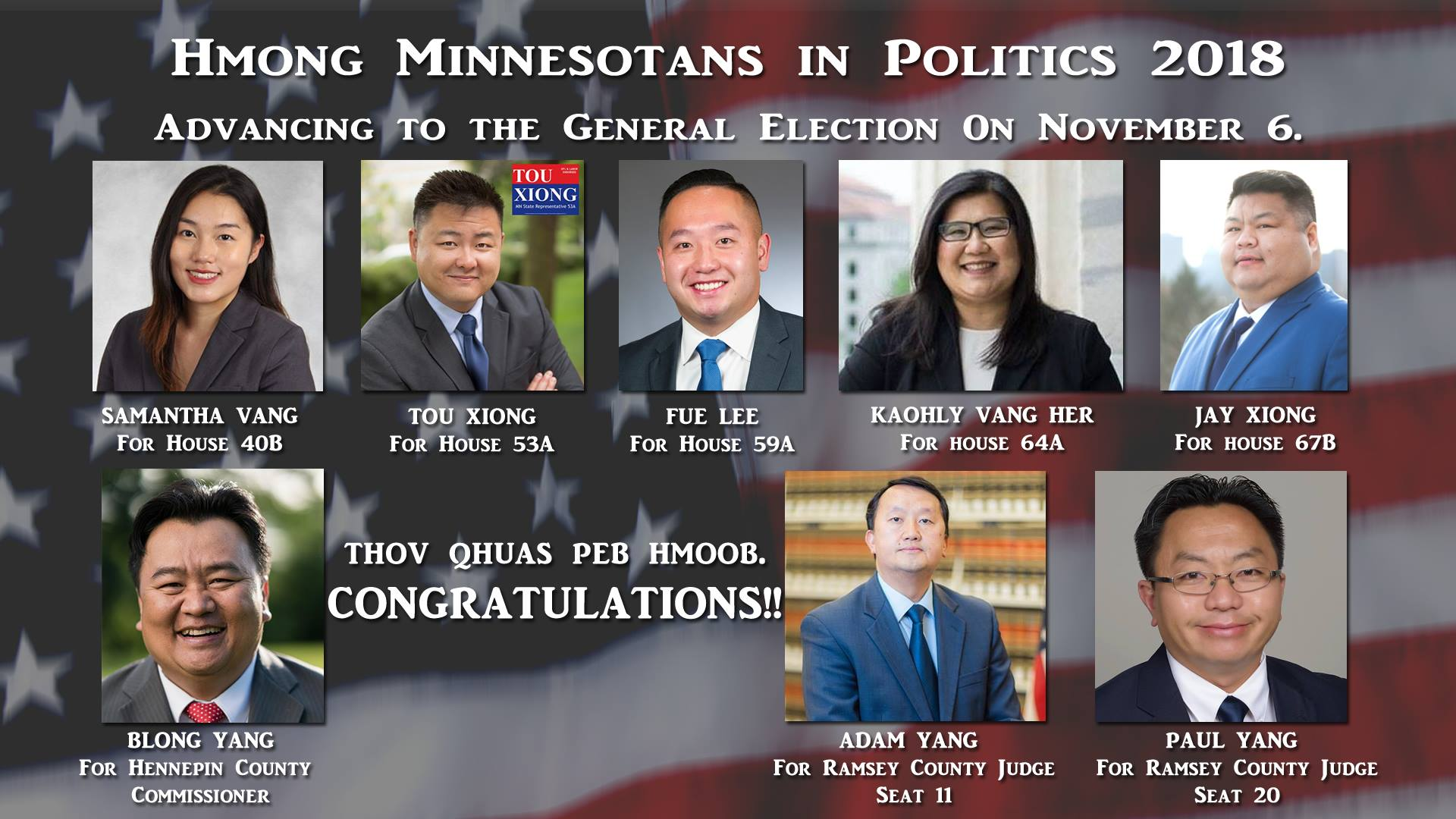 Hmong American political candidates win Primary Election in Minnesota.