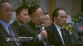 WACHONG VANG, SON OF GENERAL VANG PAO, SPEAKS TO FAMILY OF WADOUA XIONG.